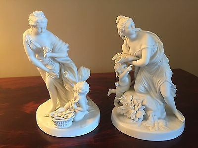 Pr UNSIGNED SEVRES PARIAN BISQUE NEO CLASSICAL BOUCHER FIGURAL GROUP W CHERUBS