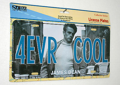 James Dean 4EVR COOL Metal Car License Plate NOS New 2000s Hollywood Movie Rebel