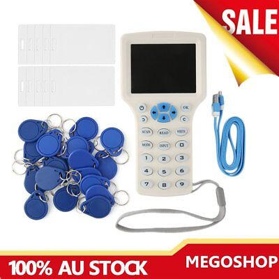 Full-Featured RFID Copier ID/IC Card Reader/Writer+10 Cards+20 Tags Blue/W LOT 9