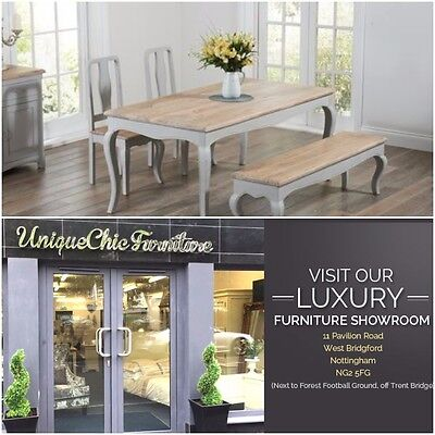Chateau French Antique Grey Painted & Wood Kitchen Dining Table Bench & Chairs