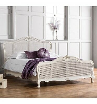 FRANK HUDSON Rattan Chic Chalk Painted Wood French Style 5FT King Size Bed