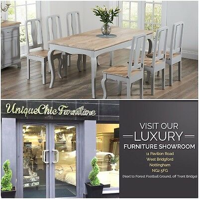 Chateau French Antique Grey Painted & Wood Kitchen Dining Table & Six Chairs