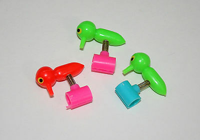 Set of 3 Pencil Toppers Spring Pecking Birds Toy Vending Prize 1960s NOS New