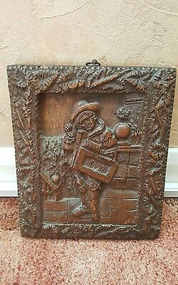 17th century oak tudor panel rare excellent detail must see tudor period wood