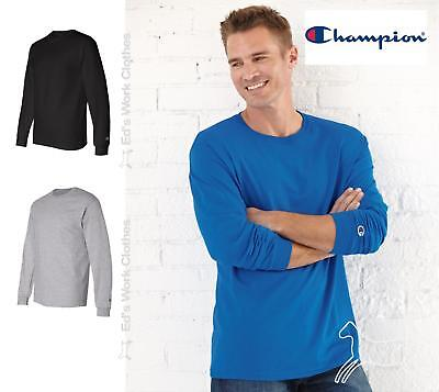 Champion Mens Blank Cotton Long Sleeve  T Shirt CC8C Up to 2XL 2 Colors
