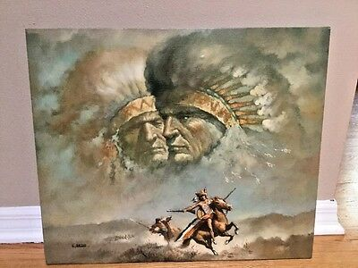 """G. BOGARD (American, 20th C) Oil Painting Canvas West NATIVE AMERICAN 24"""" x 20""""."""