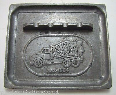 Old KLINE'S QUARRY Advertising Tray Ashtray metal raised figural truck center