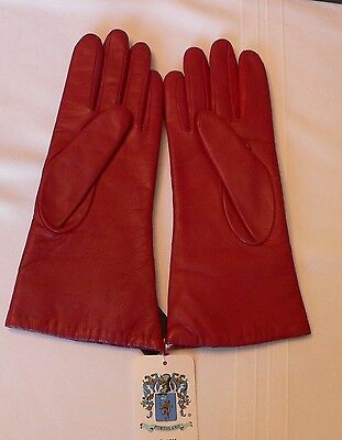 New Pair Women's Red Leather Portolano Gloves Cashmere Lining – Size 7.5 Italy
