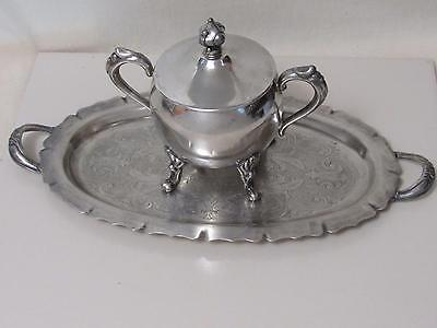 5Th Ave Silverplate Lidded Sugar Bowl & Tray