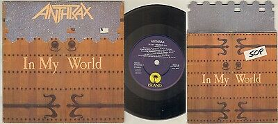 "ANTHRAX In My World 7"" Fold Out Sleeve, Orig 1990 Ltd Edition, B/W Keep It In Th"