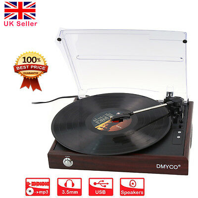 DMYCO USB Retro Vinyl Record Player Turntable FM MP3 to Converter Stereo Speaker