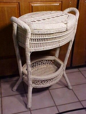 FABULOUS Antique VICTORIAN Wicker FLOOR Sewing Basket Box Chest RARE!