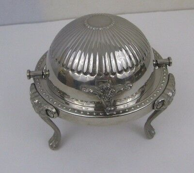 Vtg Silverplate Footed Bowl Roll Top Dome w Glass Butter/Caviar Dish
