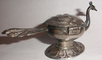 Antique exquisite Sterling Silver figural peacock hinged snuff pill trinket box