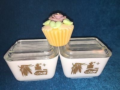 Lot Of 2 Vintage Pyrex Brown Early American Mini Loaf Pans / Dishes W/ Lids 501