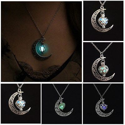 Chic Chain Luminous Necklace Hollow Out Moon Heart Pendant Glow In The Dark
