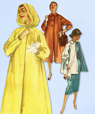 1950s Vintage Simplicity Sewing Pattern 1928 Simple Misses Hooded Coat Size 32 B