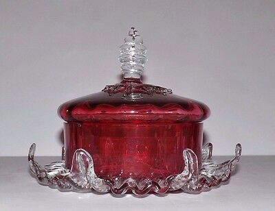 Victorian Art Glass Cranberry Butter Cheese Covered Dish/ Powder Box ??