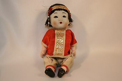"""Vintage Asian Chinese Bisque Head Composition Body Squeaker Doll Sleeper 6"""""""