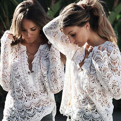US Fashion Women Bathing Suit Lace Swimwear Cover Up Crochet Bikini Beach Dress