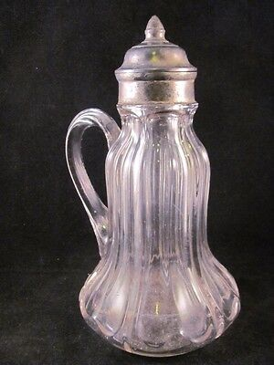 Antique 19thC Early 11 Ribbed Glass Syrup Pitcher Molasses Jug Pewter Cap 8.5 in