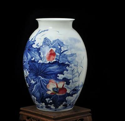 chinese Jingdezhen ancient  Blue and white porcelain sculpture lotus  vase