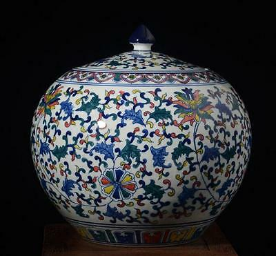 chinese ancient Blue and white youligong porcelain sculpture Colorful Cover pot