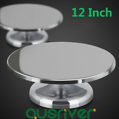 12 Inch Cake Making Turntable Rotating Decorating Platform Stand Stainless Steel
