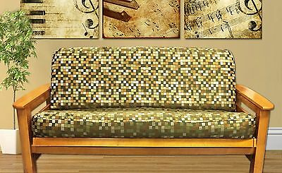 New Sage Olive Green Gold Modern Full Size Futon Cover Made In Usa
