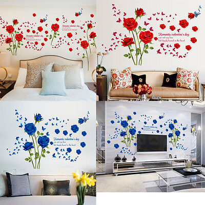 Elegant Rose Flower Wall Stickers Removable Vinyl Wall Decor Room Mural  Decal