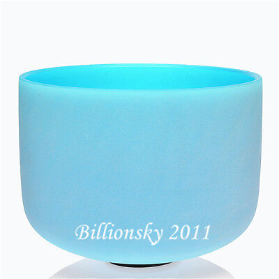 """Blue Colored G Throat Chakra Frosted Quartz Crystal Singing Bowl 10 """""""