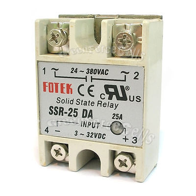 2 SSR-25DA Solid State Relay 25A Output 24V-380V For PID Temperature Controller