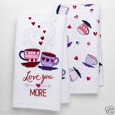 2 Pc Set Happy Valentine's Day Holiday Kitchen Towels Love You More! Coffee