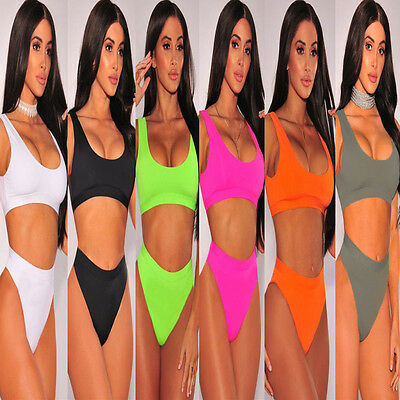 US SELLER Women Push-up Padded Swimwear Triangle Bikini Swimsuit Bandage Bathing
