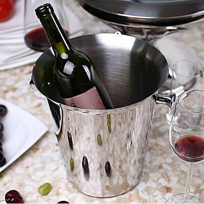 Wine Cooler Stainless Steel Ice Bucket Thick  Beer Champagne Cooler with Handle