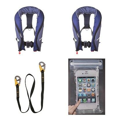 2 x Seago Active Package 190N Automatic Harness Lifejacket Lifeline Phone Bag