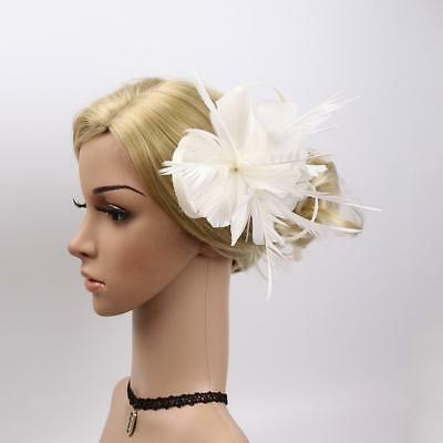 Vintage Feather Fascinator Hair Clip 20s Charleston Party Ascot Race Corsage