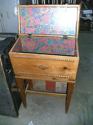 Small decorative pine craft chest or box sewing knitting needlework tapestry