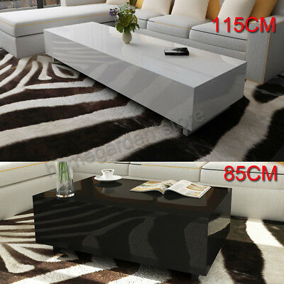 New Coffee Table Modern Furniture Side MDF High Gloss White 115/85cm Living