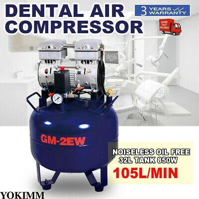 【2-5 Days to US】Dental Medical Noiseless Oilless Compact Air Compressor 32L 850W