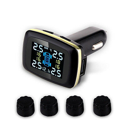 Car TPMS Tyre Pressure Monitoring System cigarette lighter Digital LCD Display