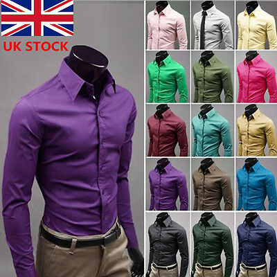 UK Mens Classic Cotton Slim Fit Formal Casual Business Shirts T-Shirt Tops M-3XL