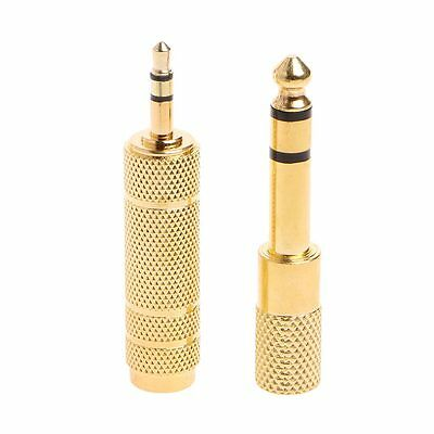 2Pcs 6.5mm 1/4 Female to 3.5mm 1/8 Male Stereo Audio Mic Plug Adapter Jack New