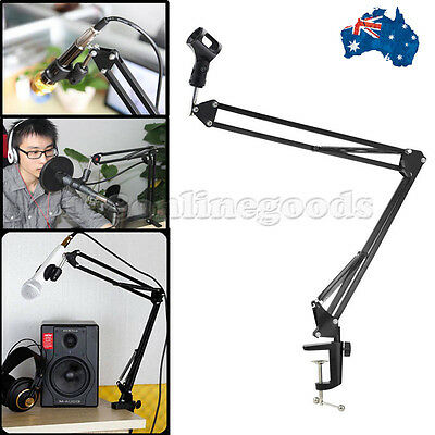Adjustable Microphone Stand Mic Holder Tripod Telescopic Boom Arm Desktop Stand