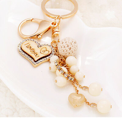 Bling Diamond Car Keyring Keychain Charm Pendant For Bag Love pearls Tassel