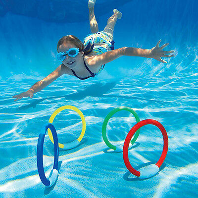 4pcs underwater dive rings swimming diving sinking pool toy games fun childrens