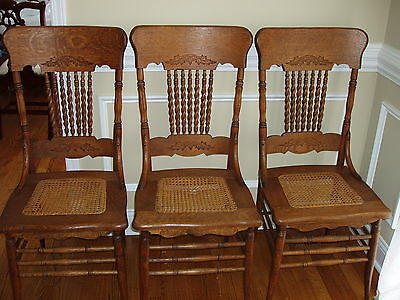Oak Pressed Back Chairs with Cane Seats
