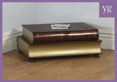 Vintage English Brown Leather Double Book Form Shaped Coffee Table (Circa 1980)