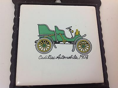 Antique 1903 Cadillac Wall Art Cast Iron Tile Decoration Collectable