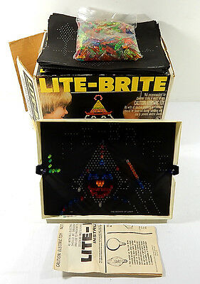 Vintage 1981 Lite-Brite Toy in Original Box With Pegs and (40) Sheets